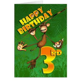 Carte 3ème banane heureuse de singe d'anniversaire