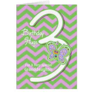 Carte 3èmes étreintes de papillon d'anniversaire de