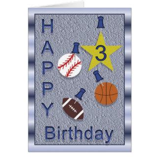 Carte 3èmes sports heureux d'anniversaire - orientés