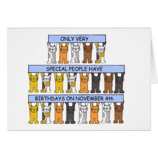 Carte 4 novembre anniversaires célébrés par des chats