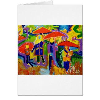 Carte 4 parapluies rouges par Piliero