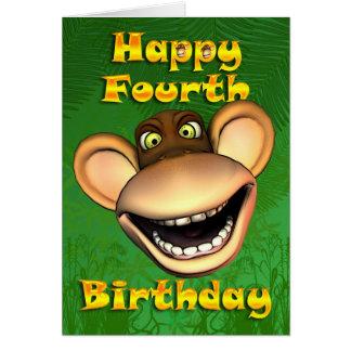 Carte 4ème banane heureuse de singe d'anniversaire