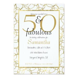 Carte 50 et partie blanche de cercles d'or fascinant