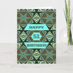 Carte 51e anniversaire avec Green Abstract Design