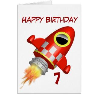 Carte 7ème de joyeux anniversaire peu de thème de fusée