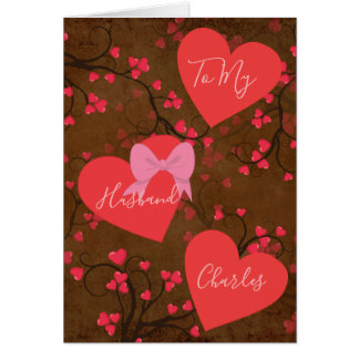 Carte À mon mari sur des coeurs de jour de Valentines