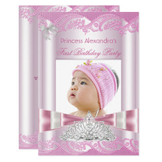 Carte Ă?re partie de princesse Girl First Birthday