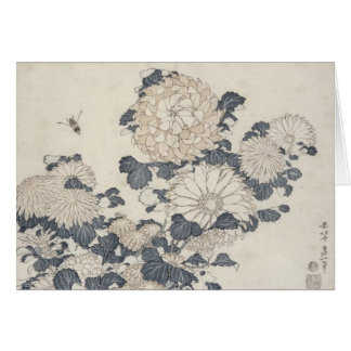 Carte Abeille et chrysanthèmes
