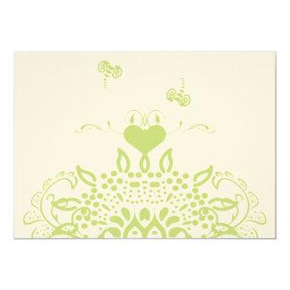 Carte Abeilles vert pomme et coeurs épousant la réponse