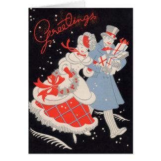 Carte Achats victoriens vintages de Noël de couples