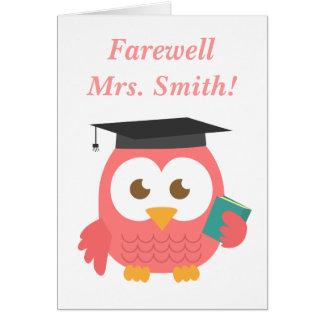 Carte Adieu au professeur, hibou mignon de professeur