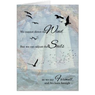 Carte Adieu - le thème nautique de navigation ancre