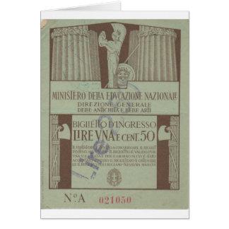 Carte Admission italienne Ticket, 1944 de Musée National