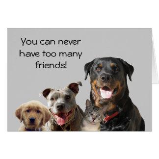 Carte adorable d'amitié d'animaux familiers