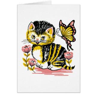 Carte adorable d'anniversaire de enfant de chaton