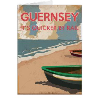 Carte Affiche locomotive vintage de voyage de Guernesey