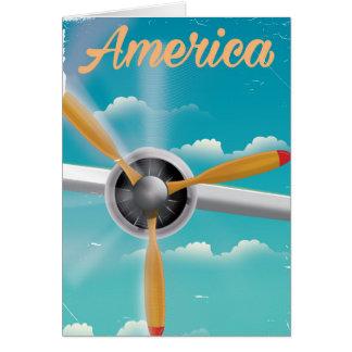 Carte Affiche vintage de voyage d'avion d'appui vertical