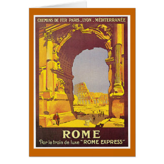 """Carte Affiche vintage de voyage de Français de """"Rome"""""""