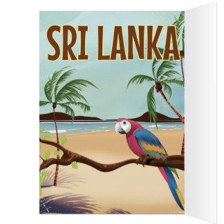 Carte Affiche vintage de voyage de plage du Sri Lanka
