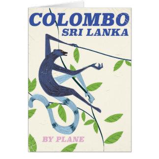 Carte Affiche vintage de voyage de style de Colombo Sri