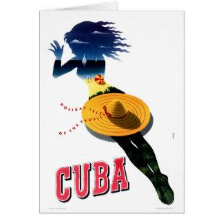 Carte Affiche vintage de voyage du Cuba reconstituée