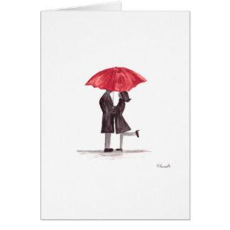 Carte Ajouter romantiques de Saint-Valentin au parapluie