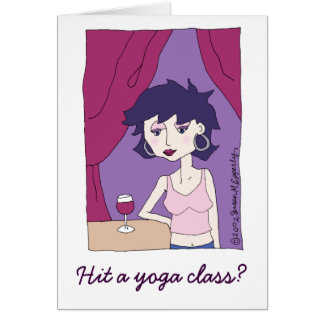 Carte Amie drôle mignonne d'amateur de vin de yoga