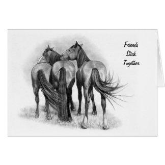 Carte Amitié de cheval : Dessin au crayon original :