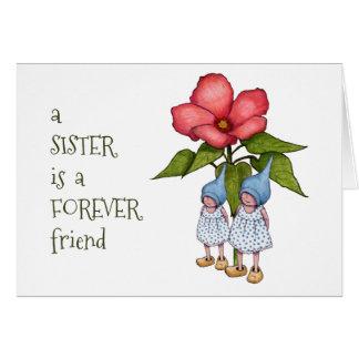 Carte Amitié de soeur, gnomes, art d'imaginaire, fleur