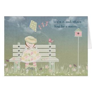 Carte Amitié - petite fille avec le cerf-volant