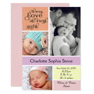 Carte Amour au collage coloré de première vue - fille