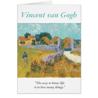 Carte Amour de citation d'artiste de Van Gogh beaucoup