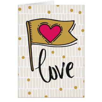 Carte Amour de drapeau de coeur