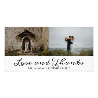 Carte Amour élégant et mercis épousant deux photos
