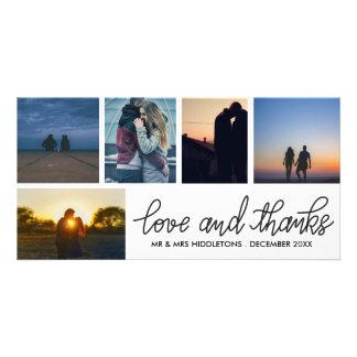 Carte Amour et mercis épousant le collage de photo du