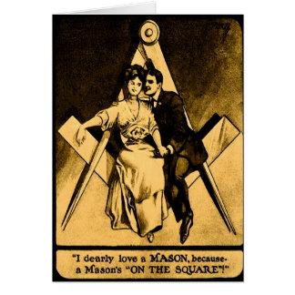 Carte Amour maçonnique antique Valentine de carré de