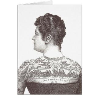 """Carte """"Amour un un autre"""" femme victorienne tatouée"""