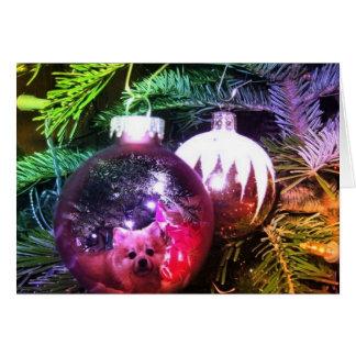 Carte Ampoule de Noël de Pomeranian (cartes pour notes)