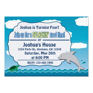 Carte Amusement à l'invitation d'anniversaire de dauphin