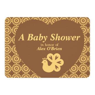 Carte Amusement et baby shower de dessin de paon d'or