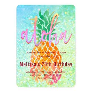 Carte ananas d'aquarelle de fête d'anniversaire de luau