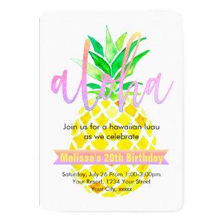 Carte ananas de fête d'anniversaire de luau