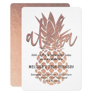 Carte ananas rose d'or de luau