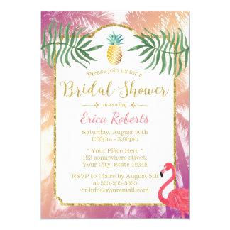 Carte Ananas tropical et douche nuptiale de palmiers