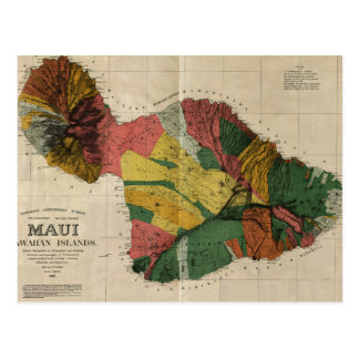 Carte ancienne vintage d'enquête de Maui - Hawaï, Cartes Postales