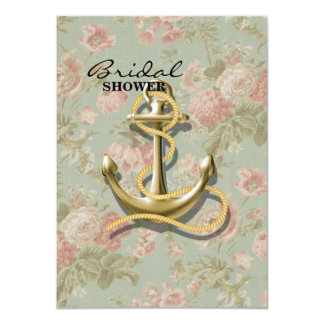 Carte Ancre nautique girly florale chic minable