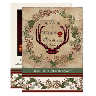 Carte Andouillers en bois rustiques de cerfs communs de