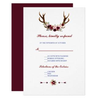 Carte Andouillers floraux de Bourgogne Marsala épousant