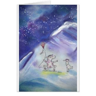 Carte Âne pilotant un cerf-volant dans la neige