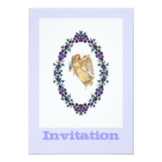 Carte Ange avec les décorations pourpres